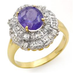 2.70 CTW Tanzanite & Diamond Ring 14K Yellow Gold - REF-90F9N - 13835