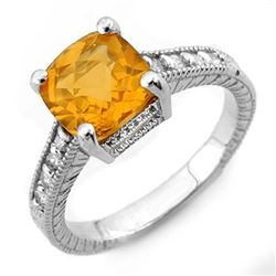 3.25 CTW Citrine & Diamond Antique Ring 14K White Gold - REF-40H5M - 11004