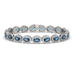 14.82 CTW London Topaz & Diamond Bracelet White Gold 10K White Gold - REF-232Y5X - 40487