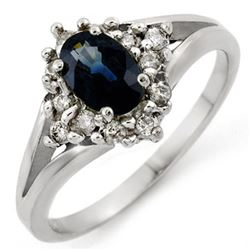 1.05 CTW Blue Sapphire & Diamond Ring 18K White Gold - REF-47H3M - 10068