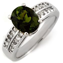 3.0 CTW Green Tourmaline & Diamond Ring 14K White Gold - REF-79H6M - 11559