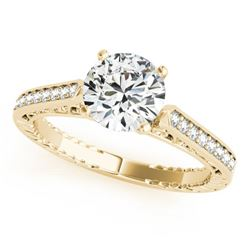 0.40 CTW Certified VS/SI Diamond Solitaire Antique Ring 18K Yellow Gold - REF-71R6K - 27365