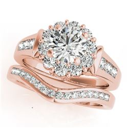 1.56 CTW Certified VS/SI Diamond 2Pc Wedding Set Solitaire Halo 14K Rose Gold - REF-182M4F - 31245