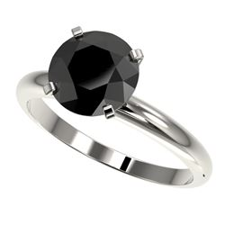 2.59 CTW Fancy Black VS Diamond Solitaire Engagement Ring 10K White Gold - REF-64Y7X - 36455