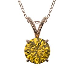 0.73 CTW Certified Intense Yellow SI Diamond Solitaire Necklace 10K Rose Gold - REF-100F5N - 36747