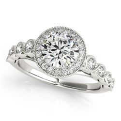 1.50 CTW Certified VS/SI Diamond Solitaire Halo Ring 18K White Gold - REF-399K5W - 26401