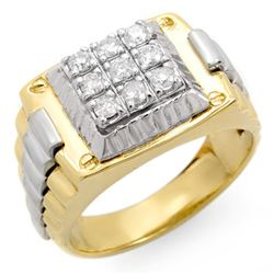 0.50 CTW Certified VS/SI Diamond Men's Ring 18K 2-Tone Gold - REF-154X7R - 14420