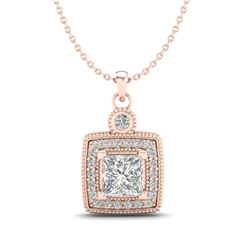 0.91 CTW Princess VS/SI Diamond Art Deco Stud Necklace 18K Rose Gold - REF-145M5F - 37131