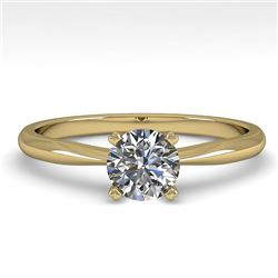 0.50 CTW VS/SI Diamond Engagement Designer Ring 18K Yellow Gold - REF-107M3F - 32383