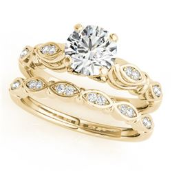 0.52 CTW Certified VS/SI Diamond Solitaire 2Pc Wedding Set Antique 14K Yellow Gold - REF-84K2W - 314