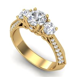 1.81 CTW VS/SI Diamond Art Deco 3 Stone Ring 18K Yellow Gold - REF-318N2A - 37147