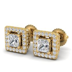 2.25 CTW Princess VS/SI Diamond Micro Pave Stud Earrings 18K Yellow Gold - REF-272H7M - 37171