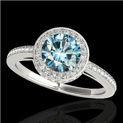 1.55 CTW SI Certified Fancy Blue Diamond Solitaire Halo Ring 10K White Gold - REF-180W2H - 34279