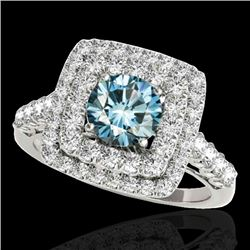 2.3 CTW SI Certified Fancy Blue Diamond Solitaire Halo Ring 10K White Gold - REF-254W5H - 34599