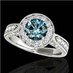 2 CTW SI Certified Fancy Blue Diamond Solitaire Halo Ring 10K White Gold - REF-209F3N - 34500