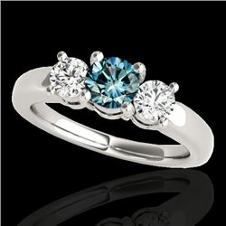 2 CTW SI Certified Fancy Blue Diamond 3 Stone Solitaire Ring 10K White Gold - REF-290X9R - 35444
