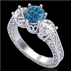 2.01 CTW Fancy Intense Blue Diamond Art Deco 3 Stone Ring 18K White Gold - REF-343K6W - 37579