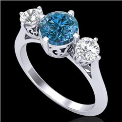 1.51 CTW Intense Blue Diamond Solitaire Art Deco 3 Stone Ring 18K White Gold - REF-236X4R - 38083