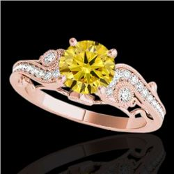 1.50 CTW Certified SI Intense Yellow Diamond Solitaire Antique Ring 10K Rose Gold - REF-262W7H - 348