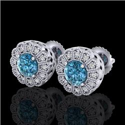 1.32 CTW Fancy Intense Blue Diamond Art Deco Stud Earrings 18K White Gold - REF-218F2N - 37838