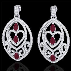 7 CTW Ruby & Micro Pave VS/SI Diamond Heart Earrings Designer 18K White Gold - REF-381W8H - 21158