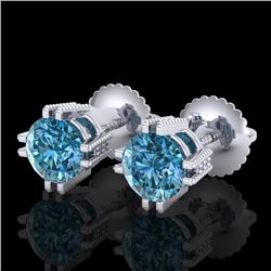 1.07 CTW Fancy Intense Blue Diamond Art Deco Stud Earrings 18K White Gold - REF-143N6A - 37537