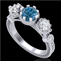 1.75 CTW Intense Blue Diamond Solitaire Art Deco 3 Stone Ring 18K White Gold - REF-227N3A - 37880