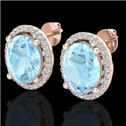 5 CTW Aquamarine & Micro Pave VS/SI Diamond Earrings Halo 14K Rose Gold - REF-96A2V - 21044