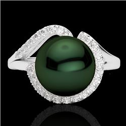 0.27 CTW VS/SI Diamond & Peacock Pearl Designer Ring 18K White Gold - REF-50R7K - 22621