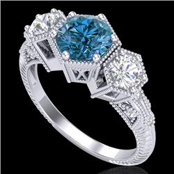 1.66 CTW Intense Blue Diamond Solitaire Art Deco 3 Stone Ring 18K White Gold - REF-254F5N - 38055