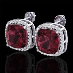 12 CTW Garnet & Micro Pave Halo VS/SI Diamond Earrings Solitaire 18K White Gold - REF-88F2N - 23063
