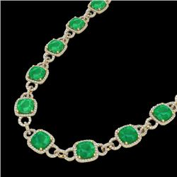 56 CTW Emerald & Micro VS/SI Diamond Certified Eternity Necklace 14K Yellow Gold - REF-960H2M - 2304