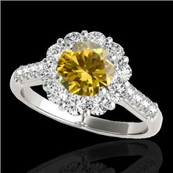 2 CTW Certified SI/I Fancy Intense Yellow Diamond Solitaire Halo Ring 10K White Gold - REF-207M3F -