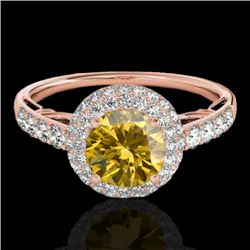 1.65 CTW Certified SI/I Fancy Intense Yellow Diamond Solitaire Halo Ring 10K Rose Gold - REF-178V2Y