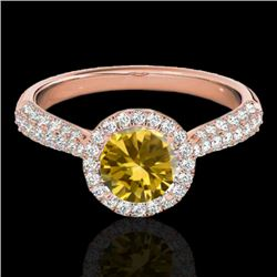 1.40 CTW Certified SI/I Fancy Intense Yellow Diamond Solitaire Halo Ring 10K Rose Gold - REF-170M4F