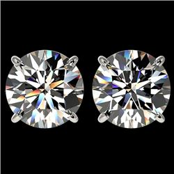 4.04 CTW Certified H-I Quality Diamond Solitaire Stud Earrings 10K White Gold - REF-1237F5N - 36708