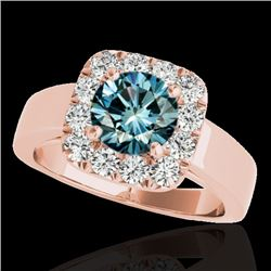 1.55 CTW SI Certified Fancy Blue Diamond Solitaire Halo Ring 10K Rose Gold - REF-174W5H - 34244