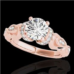 1.20 CTW H-SI/I Certified Diamond Solitaire Antique Ring 10K Rose Gold - REF-161X8R - 34676