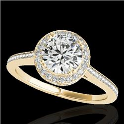 2.03 CTW H-SI/I Certified Diamond Solitaire Halo Ring 10K Yellow Gold - REF-373R8K - 33537