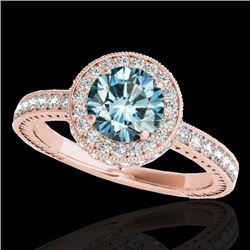 1.51 CTW SI Certified Fancy Blue Diamond Solitaire Halo Ring 10K Rose Gold - REF-180A2V - 34307