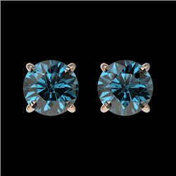1 CTW Certified Intense Blue SI Diamond Solitaire Stud Earrings 10K Rose Gold - REF-87A2V - 33056