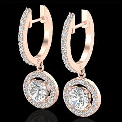 1.75 CTW Micro Pave Halo VS/SI Diamond Certified Earrings 14K Rose Gold - REF-208V7Y - 23254