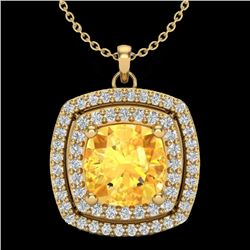 1.77 CTW Citrine & Micro Pave VS/SI Diamond Halo Necklace 18K Yellow Gold - REF-63Y5X - 20453
