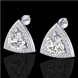 3 CTW Micro Pave Halo VS/SI Diamond Certified Stud Earrings 18K White Gold - REF-824M3F - 20188
