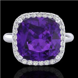 6 CTW Amethyst & Micro Pave Halo VS/SI Diamond Ring Solitaire 18K White Gold - REF-56F7N - 23091