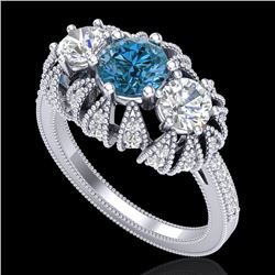 2.26 CTW Intense Blue Diamond Art Deco Micro Pave 3 Stone Ring 18K White Gold - REF-254Y5X - 37747