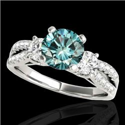 1.75 CTW SI Certified Fancy Blue Diamond 3 Stone Ring 10K White Gold - REF-216H4M - 35417