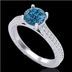 1.45 CTW Fancy Intense Blue Diamond Solitaire Art Deco Ring 18K White Gold - REF-209M3F - 37754