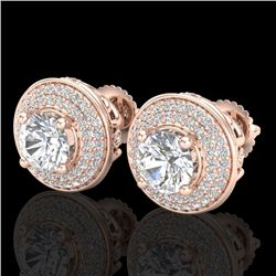2.35 CTW VS/SI Diamond Solitaire Art Deco Stud Earrings 18K Rose Gold - REF-400V2Y - 37257