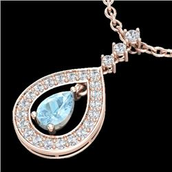 1.15 CTW Aquamarine & Micro Pave VS/SI Diamond Necklace Designer 14K Rose Gold - REF-61X3R - 23161